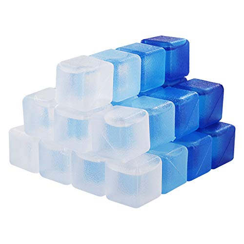 Thornton's Reusable Plastic Ice Cubes, Assorted Colors (32 Cubes) (Icy Blues, -