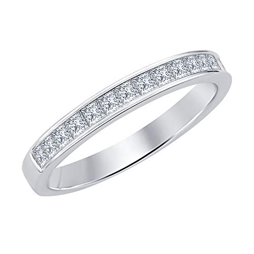 (tusakha 1.10ctw Princess Cut White CZ Diamond Half Eternity Wedding Band Ring for Men's 14k White Gold Plated 925 Sterling Silver)