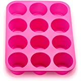 KLEMOO Silicone Muffin Pan, 12-Cup Nonstick Cupcake Baking Tin, Bake the Large Size Perfect Shaped Muffins, No sticking and Easy to Clean-up