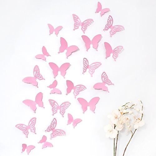 Wandkings 3D Schmetterlinge in ROSA mit Ornamenten / Muster, 12 STÜCK im Set mit Klebepunkten