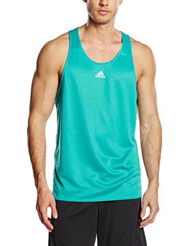(Adidas SS16 Mens Response Running Singlet - Shock Green - Large )