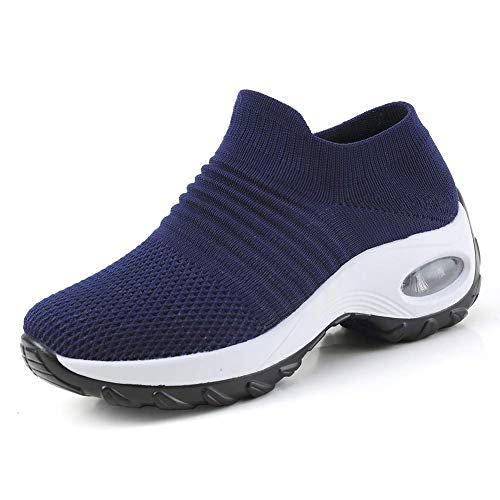 (Women's Slip on Walking Shoes - Mesh Breathable Air Cushion Work Nursing Shoes Easy Casual Sneakers Navy & White)