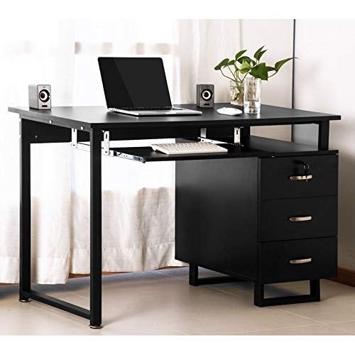 Merax Black Computer Desk Multipurpose Home Office Desk Study Desk with Pull-Out Keyboard Tray and Drawers (Black_Design1)