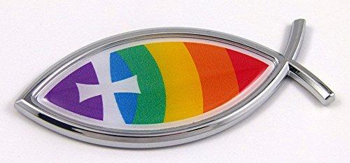 Car Chrome Decals CBFSH-Christ Christian Rainbow Jesus Fish Cross Car Bike Auto Chrome Emblem Decal Sticker]()