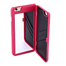 "iPhone (5.5""): Dual Function Cosmetic Mirror Case Card Wallet Back Cover Shell For iPhone 6 Plus & iPhone 6S Plus (PINK)"
