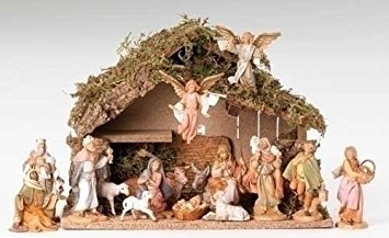 Fontanini 16 Piece Christmas Nativity Set with Italian Stable Figurine 54492