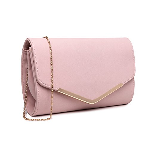 Miss Lulu Soft Faux Suede Terciopelo Pu Evening Party Bolsa de cadena Sobre Embrague Bolsos para mujer 1756 Rosado