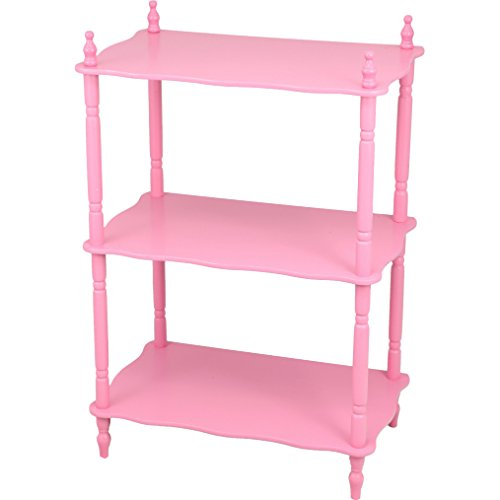 Mega Home 3 Tier 27.75-Inch Victorian Style Kids Bookcase Book Organizer in Pink