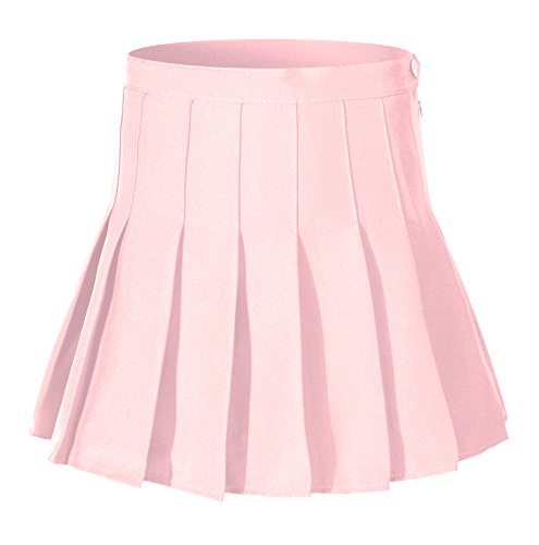 Beautifulfashionlife Women's High Waist Solid Pleated Mini Skirt(S, Pink)
