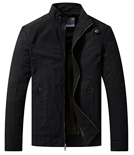 WenVen Men's Spring Casual Lightweight Full Zip Military Jacket(Black,Small)