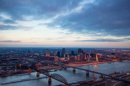 Amazoncom St Louis Missouri Aerial Skyline Sunrise Photography