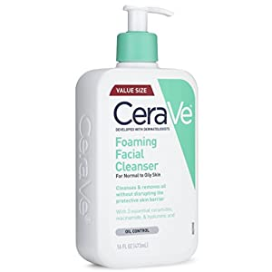 CeraVe Foaming Facial Cleanser 16 oz for Daily Face Washing, Normal to Oily Skin