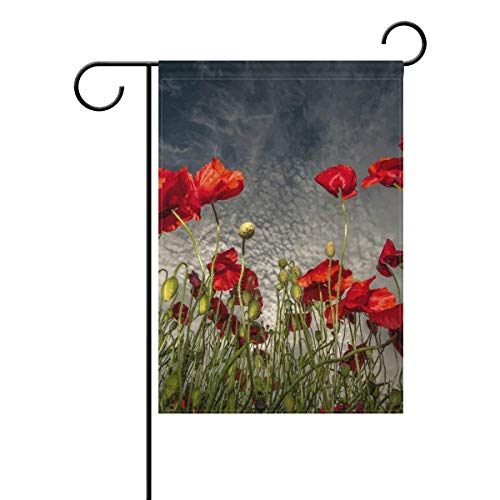 Home Poppy Polyester Waterproof Garden Flag Double-Sized Print Decorative Holiday Home Flag,12 X 18 - Poppy 268