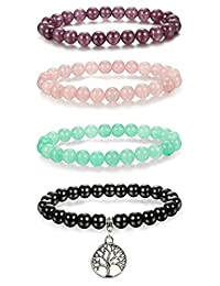 Thunaraz 4pcs 8mm Natural Healing Stone Bracelets for Men Women Beaded Bracelets Elastic Tree of Life Charm