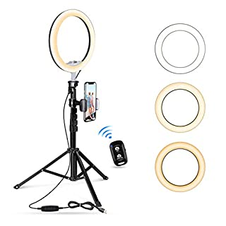 """10.2"""" Selfie Ring Light with Tripod Stand & Cell Phone Holder for Live Stream/Makeup, UBeesize Mini Led Camera Ringlight for YouTube Video/Photography Compatible with iPhone Android (Black)"""