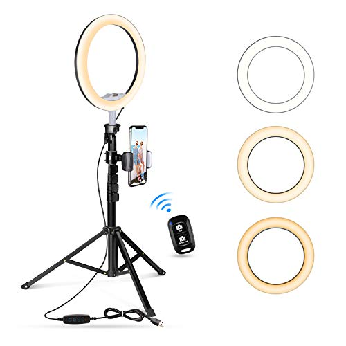 UBeesize 10.2″ Selfie Ring Light with Tripod Stand & Cell Phone Holder for Live Stream/Makeup, Mini Led Camera Ringlight for YouTube Video/Photography Compatible with iPhone Android (Upgraded)