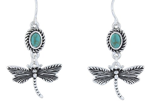 Turquoise Dragonfly Earring (LOLO Silver-Tone Imitation Turquoise Dragonfly Dangle Earrings)
