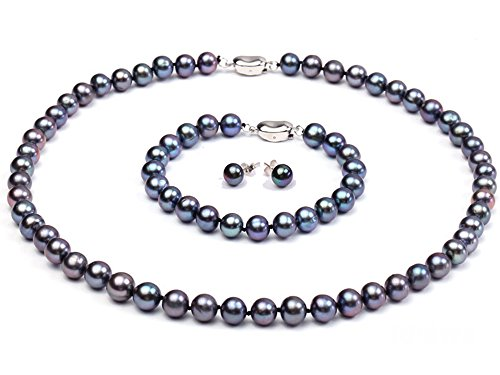 JYX Pearl Necklace Bracelet Set AAA Elegant 8-9mm Round Black Freshwater Cultured Pearl Necklace Bracelet Set for Women (All in 3)