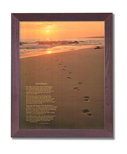 Footprints Poster in the Sand Motivational Wall Picture Cherry Framed Art Print