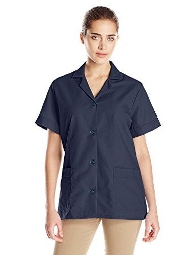 Red Kap Women's Button Front Tunic, Navy, Small (Blue Smock)