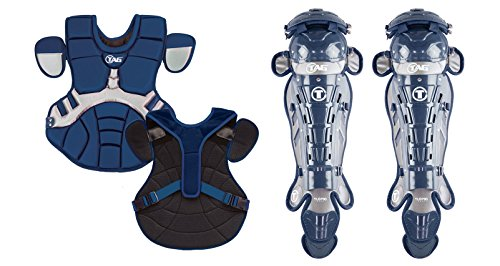 TAG 700 Pro Series II Men's Catchers Set with Body Protector and Leg Guards, Navy/Grey (700 Series Mens)
