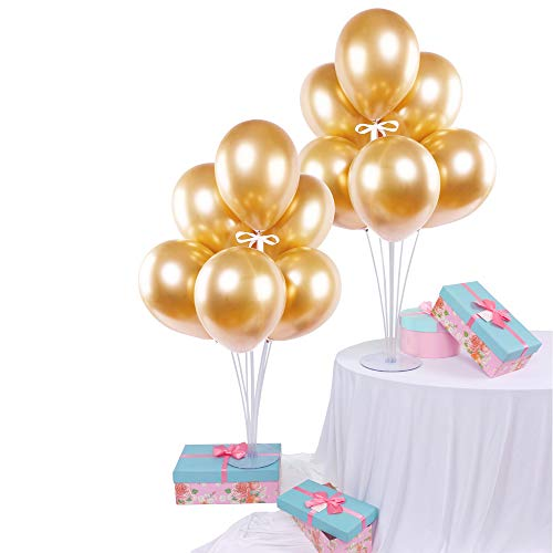 14pcs Gold Chrome Metallic Balloons DIY Table Balloon Stand Kit 2 Sets Balloon Holder Sticks 7 Cups and 1 Base for Birthday Party Wedding Party Decorations 28
