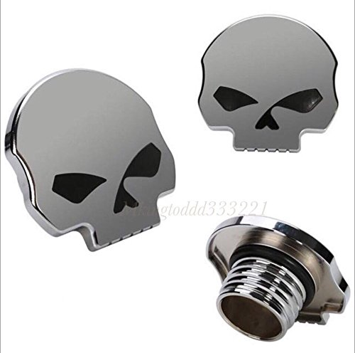 Gold DLLL Motorcycle CNC Aluminum Skull Eye Fuel Gas Tank Oil Cap for Harley Davidson Sportster XL 1200 883 X48 Dyna Softail FXD FL XL FLT Big Twin Touring Road King