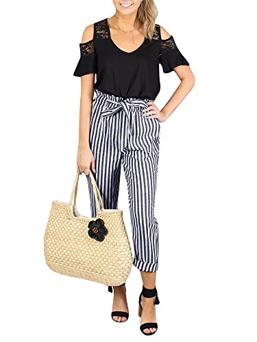 Womens High Waisted Plaid Striped Palazzo Pants Casual Tie Waist Cropped Trouser with Pockets Black
