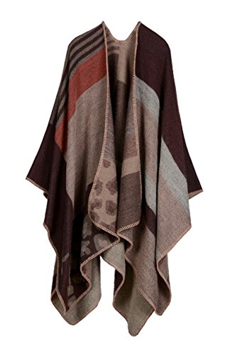 Hiwil Womens Fall Winter Faux Wool Blanket Side Slit Thick Pashmina Shawls Ponchos Scarf