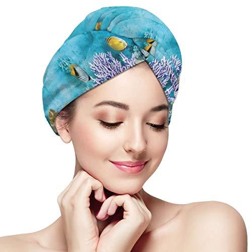 - UAYDHJ Microfiber Hair Towel Turban Wrap 1 Pack, Tropical and Exotic Coral Reefs Fish School Bathing Wrapped Cap for Women Men Teen