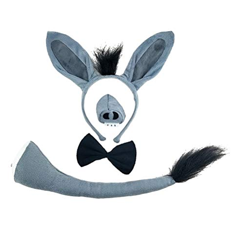 TOYANDONA 4pcs Donkey Ears and Tail Set Donkey