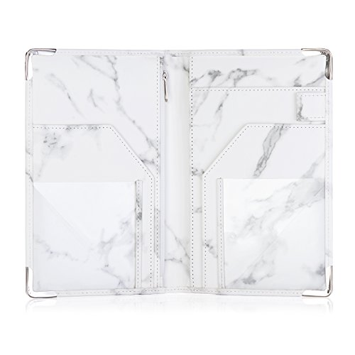 Sonic Server Marble Style Deluxe Server Book for Restaurant Waiter Waitress Waitstaff | Classy White Marble | 9 Pockets includes Zipper Pouch with Pen Holder | Holds Guest Checks, Money, Order Pad by Sonic Server (Image #3)