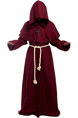 [Wecos Friar Medieval Hooded Monk Renaissance Priest Robe Halloween Costume X-Large] (Priest Halloween Costume Deluxe)