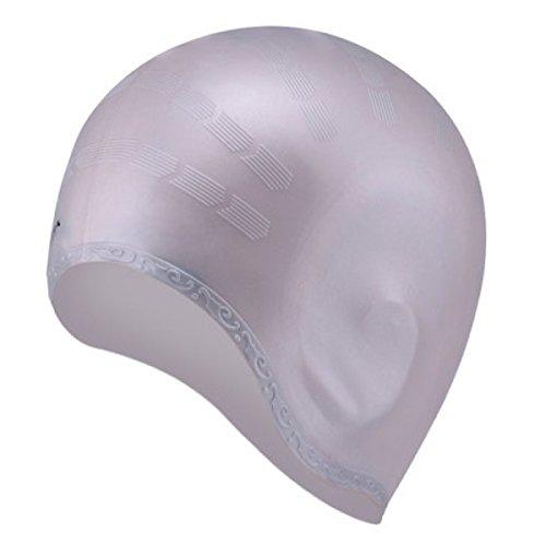 BUKUANG Protection Oreille Bonnet De Bain Unisexe Cheveux Longs Imperméable Confortable Et Doux Silicone Bonnet De Bain,Grey