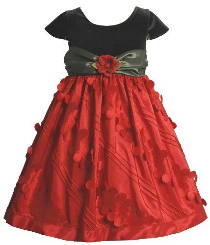 Bonnie Jean Little Girls' Dress Short Sleeve Stretch Velvet Empire Waist Bodice To Novelty Taffeta Skirt, Red, 5 ()