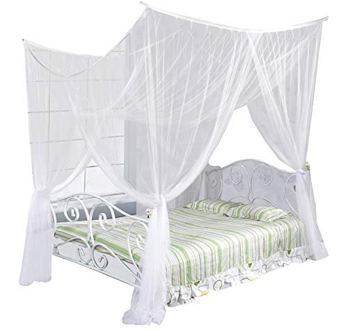 (Just Relax Four Corner Post Elegant Mosquito Net Bed Canopy Set, White, Full/Queen/King, 86.6x78.7x98.4 Inches)