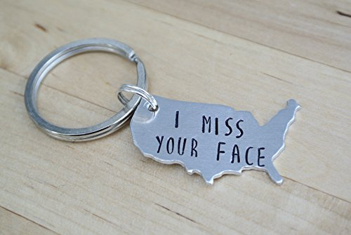 I Miss Your Face Hand Stamped Keychain | Long Distance Relationship | Long Distance Boyfriend Gift | Long Distance Keychain Deployment Gift