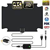 【2020 Latest】 HD Digital TV Antenna 120 Miles Amplifier Signal Booster Indoor Long Range HDTV Antennas Support 4K 1080P UHF VHF Local Free Channels (Coax Cable)