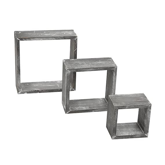 MyGift Barnwood Gray Wall Mounted Wood Shadow Boxes, Square Floating Display Shelves, Set of 3 - Set of 3 freestanding or wall-mountable wooden shadow boxes with a rustic barnwood-gray finish. Can be used to showcase keepsakes, collectibles, and awards, or for creating unique decorative displays. Each display shelf comes in a different size and can be grouped together to created a decorative wall collage or used separately. - wall-shelves, living-room-furniture, living-room - 41HY6EU1MGL. SS570  -