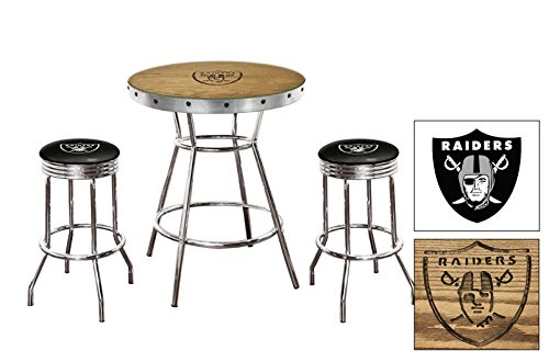 (Custom Oak Bar Table Set-Features a Hand-Carved Raiders Logo with a Glass Top and 2 - 29