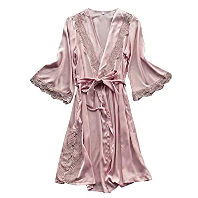 RAINED-Womens Solid Colored Satin Robe Long Dressing Gown Silk Robe Long Satin Kimono Bathrobe for Bride and Bridesmaids