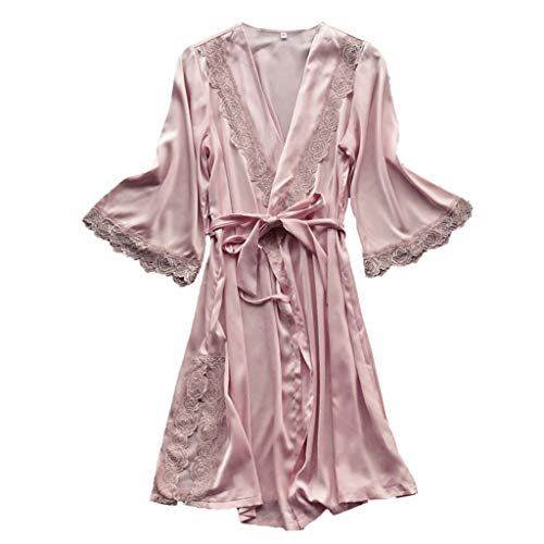 RAINED-Womens Solid Colored Satin Robe Long Dressing Gown Silk Robe Long Satin Kimono Bathrobe for Bride and Bridesmaids ()