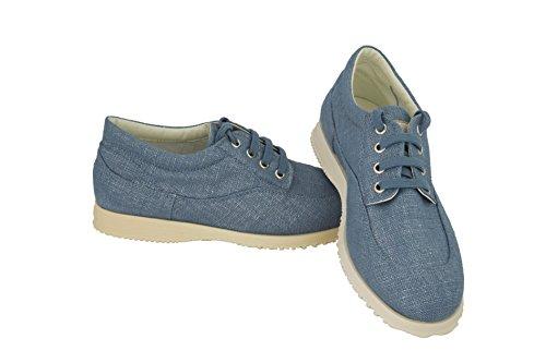Hogan By Tods Easy Lace Up Denim Jeans Blauw Canvas Sneakers Schoenen Denim Jean Blauw