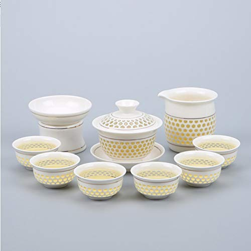 Tea Set Linglong Home Simple Kung Fu Blau And Weiß Hollow Cup Weiß Porcelain Cover Bowl B