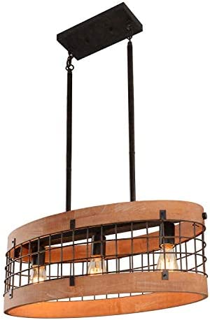 Giluta Rustic Chandelier Oval Wood Frame Mesh Cage Pendant Light Fixture Farmhouse Kitchen Chandelier Edison Hanging Ceiling Light 3 Lights, Brown C0062
