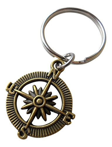 Bronze Open Metal Compass Keychain - I'd Be Lost Without You; 8 Year Aniversary Gift, Couples Keychain