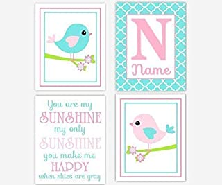 Pink Aqua Baby Girl Nursery Wall Art Birds You Are My Sunshine Personalized Name Art Baby Nursery Decor Girl Room Wall Decor Nursery Prints SET OF 4 UNFRAMED PRINTS