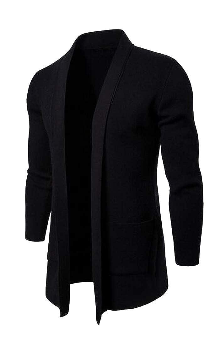 1 YYG Men Business Open Front Longline Fashion Knitting Slim Fit Cardigan Trench Coat Outerwear