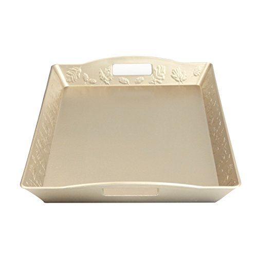 Gold Leaf Charger (Fantastic:) New Classic Design with Metallic Finish style Decorative tray (Rectangular Leaf Gold))