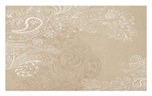 Lunarable Beige Doormat, Hand Drawn Swirling Floral Motifs Antique Eastern Blossoms Indigenous Nostalgic Bohemian, Decorative Polyester Floor Mat with Non-Skid Backing, 30 W X 18 L Inches, Beige